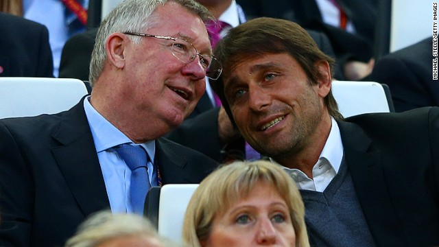 No stranger to a piece of silverware, former Manchester United manager Sir Alex Ferguson (left) enjoys a night out with Juventus manager Antonio Conte at the first European football final of the season.