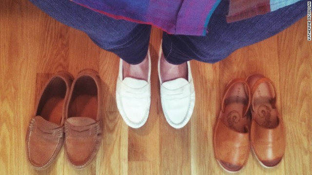 """My three favorite flats are comfortable for walking to work or chasing my kids,"" said <a href='http://instagram.com/pierreponthicks' target='_blank'>Katherine McMillan</a>, a working mother of two in Brooklyn, New York. ""Haven't worn my white suede loafers since last summer so they're happy to get back out there."""