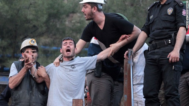 A relative expresses anguish at the site of the coal mine disaster in Soma, Turkey, as search and rescue operations continue Thursday, May 15. A fire caused by a transformer explosion left nearly 300 people dead and trapped dozens of others in the mine, officials said.