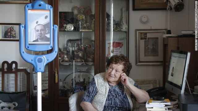 """Nonna Lea,"" 94, is being assisted by the Giraffplus robot carer at her Rome apartment. ""It is very useful for older people who prefer to live in their own home where there are memories and comforts,"" she said."