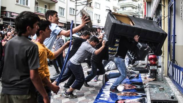 Protesters riot outside the Justice and Development Party office in Soma.