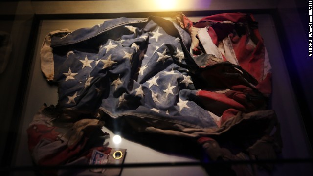 An American flag was recovered from the World Trade Center site.
