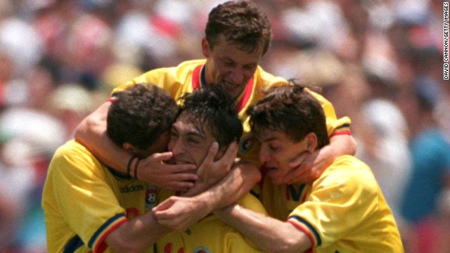 In 1994, Romania proved one of the surprise teams of the tournament as it reached the quarterfinals in the U.S. Its 3-2 victory over former champion Argentina proved one of the highlights. Led by its supremely talented captain, Gheorge Hagi, Romania topped its group before dumping Argentina out of the competition. Only a penalty shootout defeat by Sweden scuppered a bid for a place in the last four.