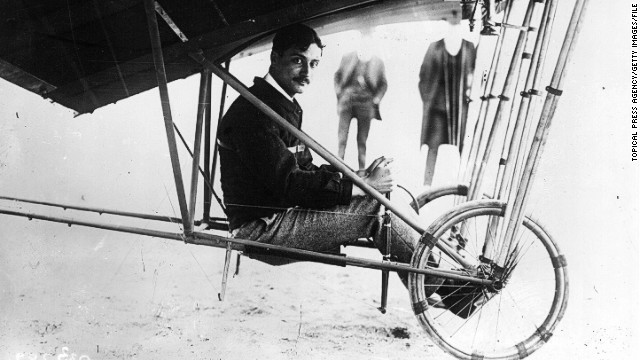 Garros at the controls of his first plane -- Santos-Dumont Demoiselle -- which he purchased in 1910. The following year he would pilot it to second place in the European Circuit race. The event had nine stages covering 1,600 kilometers (990 miles).