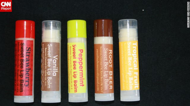 The Sweet Bee Sisters currently offer five different flavors of lip balm, including strawberry and root beer.