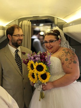 The duo are so enthralled by aviation that they even wed on the Concorde.