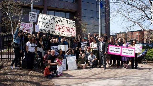 Protesters rally in Hartford, Connecticut, on April 25 for the release of a transgender girl held in an adult prison without charges.