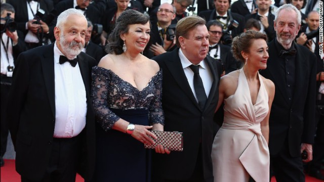 "From left, ""Mr. Turner"" director Mike Leigh, actress Marion Bailey, actor Timothy Spall, actress Dorothy Atkinson and director of photography Dick Pope on May 15"