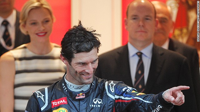 "Webber, a winner in 2010 and 2012, is congratulated by Prince Albert and Princess Charlene of Monaco on the podium. ""To win in Monaco is certainly worth a few victories,"" says the former Red Bull racer."