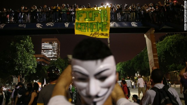 Protestors gather in Rio de Janeiro to protest against the country's hosting of the FIFA World Cup, which will begin on June 12.