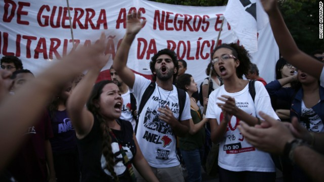 Protesters rally in Rio de Janeiro on May 15.