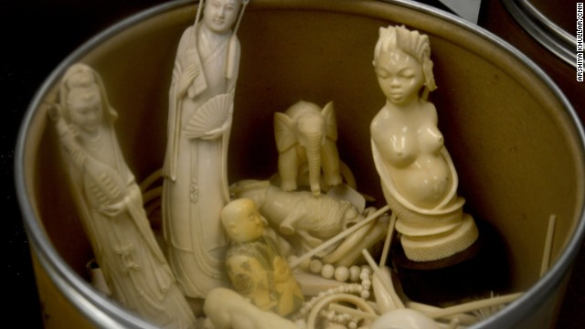 Carved trinkets, bracelets and other ivory products were also incinerated along with the elephant tusks