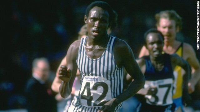 Filbert Bayi #42 of Tanzania rounds the bend during the 5000-meter event at the AAA Championships in Crystal Palace, London in June 1978.