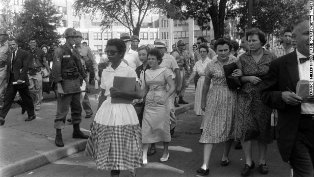 Arguably the most critical school desegregation battle in American history took place in 1957, three years after the Supreme Court's landmark Brown v. Board of Education ruling, when nine African-American students -- known ever after as the Little Rock Nine -- integrated Arkansas' Little Rock Central High School. On September 4, 1957 -- the first day of school -- a crush of reporters and photographers chronicled the scene as Arkansas National Guardsmen blocked 15-year-old Elizabeth Eckford, the first of the nine to arrive, from entering school grounds. See more of LIFE's coverage of the Little Rock Nine.