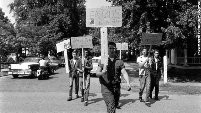 Segregationists picket in Little Rock.