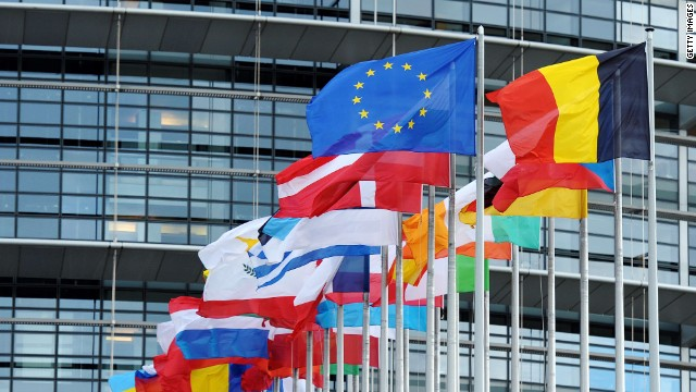 In this file photo, the EU flag is shown flying amongst member countries' national flags at the European Parliament in Strasbourg.