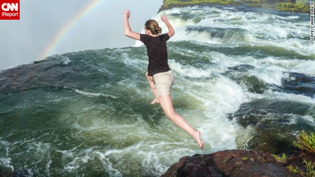 "If you're brave enough, you can jump into Devil's Pool, just above the falls on the Zambian side in <a href='http://www.zimparks.org/index.php/parks-overview/national/national-parks' target='_blank'>Victoria Falls National Park</a>, as <a href='http://ireport.cnn.com/docs/DOC-1129760'>Dirkse</a> did here. ""When the water is low, you can jump into the pool, where a natural rock wall stops you just at the edge of the falls,"" Dirkse said. ""It's an exhilarating experience."""