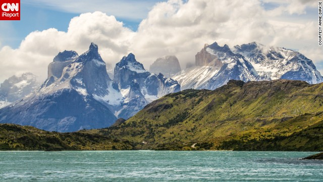 "You can see mountains, glaciers, lakes and rivers in Chilean Patagonia from <a href='http://www.conaf.cl/parques/parque-nacional-torres-del-paine/' target='_blank'>Torres del Paine National Park</a>. <a href='http://ireport.cnn.com/docs/DOC-1129779'>Dirkse</a> says hiking through the classic W trek will take you on a sightseeing adventure. ""The mountains in Torres del Paine National Park are some of the most beautiful mountains in the world,"" she says."