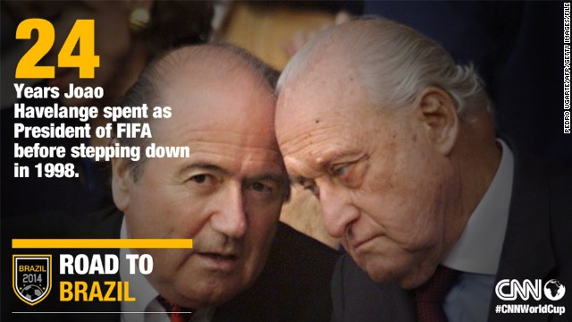 Joao Havelange, pictured with his successor Sepp Blatter (L), served as FIFA president for 24 years starting in 1974 before stepping down in 1998.