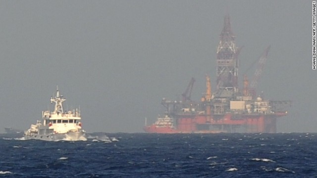 China's oil drilling rig in disputed waters in the South China Sea.
