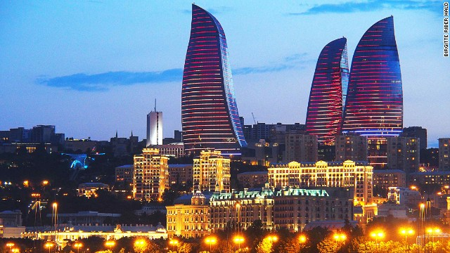 These towers in Baku, Azerbaijan, are completely covered with LED screens that mimic fiery flames and giant torches. The design was inspired by Azerbaijan's history as a land of fire, due to its rich deposits of natural gas. Concrete is the predominant material, while the tops of the three buildings contain a lighter steel structure to create the impression of a flickering flame. <strong>Architect: </strong>HOK