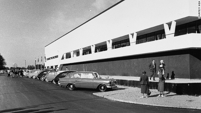 "IKEA maintains a corporate presence in Almhult, with furniture testing facilities and an exhibition of the company's history entitled ""IKEA Through the Ages."" This photo shows the first IKEA store in 1959 or 1960."
