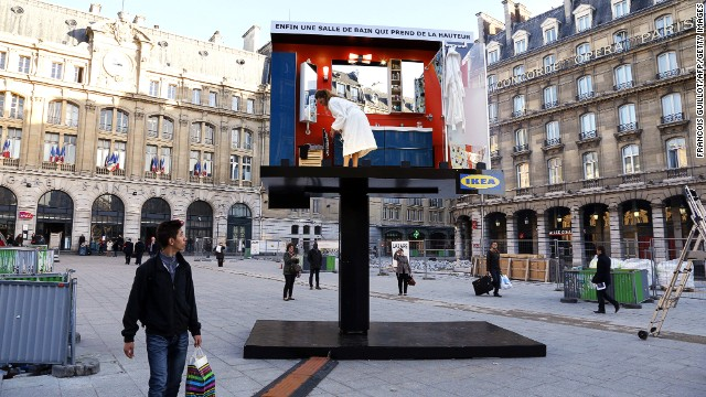 "Today, there are <a href='http://franchisor.ikea.com/FranchisingtheIKEAway/Pages/All-IKEA-stores.aspx' target='_blank'>355 IKEA stores</a> in 44 countries, including France, where this innovative ""bathroom"" billboard stands in Paris. The latest store opened in Tachikawa, Japan, in April."