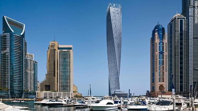This Dubai building is the world's tallest tower featuring a 90-degree twist. The building's shape reduces wind forces on the tower and channels wind in such a way that its forces are unable to organize themselves. Each floor is rotated by 1.2 degrees to achieve the full 90-degree spiral, creating the shape of a helix. <strong>Architects: </strong>Skidmore, Owings & Merrill, Khatib & Alami Dubai