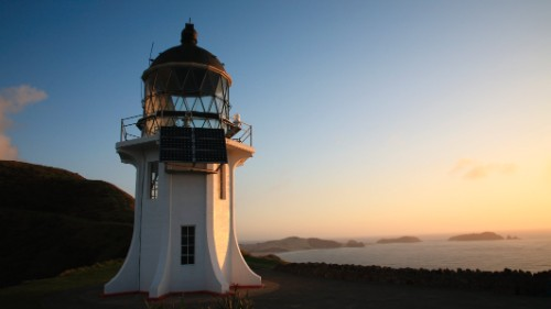 The Cape Reinga Lighthouse overlooks where the Tasman Sea meets the Pacific.