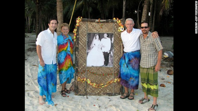 Probst's parents renewed their vows on their 50th anniversary in Samoa in 2009. That's Jeff, parents Barbara and Jerry, and brother Scott (left to right) in Samoa with a copy of his parents' original wedding picture. Season 19 was shot there.