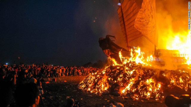 Travel blogger Daniel Moore took this photo of a flaming wooden boat at the King Boat Festival in Donggang, Taiwan. The religious festival happens only once every three years and is thought to rid the town of illness and misfortune.
