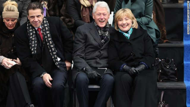 Former President Bill Clinton, center right, was notably embroiled in an office fling with former <a href='http://www.cnn.com/2014/05/06/politics/lewinsky-clinton-affair/'>White House intern Monica Lewinsky</a>, which became public in 1998. He and wife Hillary weathered the storm and other allegations of infidelity. Click through the gallery for more couples who stayed together after an alleged affair.