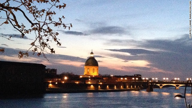 "The east bank of the Garonne is a perfect place to watch the sun set over the ""ville rose."""