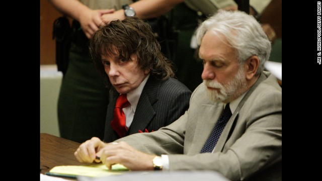 Music impresario Phil Spector, left, was sentenced to 19 years to life in 2009 for the shooting death of actress Lana Clarkson.