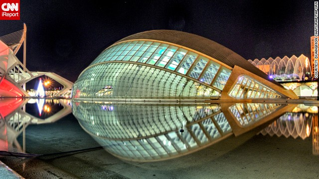 "The <a href='http://www.cac.es/hemisferic/' target='_blank'>L'Hemisferic</a> planetarium in Valencia, Spain, is an attraction at the City of Arts and Sciences compound. The building resembles a large human eye, says <a href='http://ireport.cnn.com/docs/DOC-1126235'>Duangmon Chaturapitaporn</a>, who shot this photo in 2011. The building is surrounded by water ""to create the illusion of the eye as a whole."""