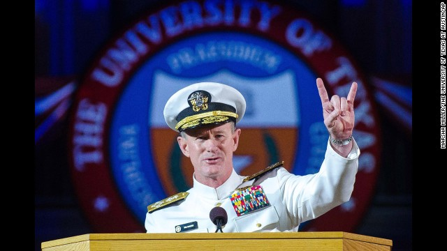 The U.S. Navy admiral delivered the keynote address at the University of Texas at Austin's commencement on May 17. McCraven is the ninth commander of the U.S. Special Operations Command; he planned and directed the U.S. Joint Special Operations Command raid that led to the death of Osama bin Laden.