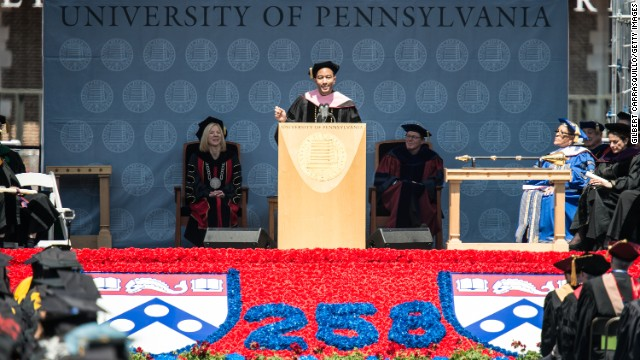 The Grammy-winning singer and songwriter delivered the commencement address at the University of Pennsylvania on May 19. Legend graduated from Penn in 1999. Here, he receives an honorary doctorate of music during the commencement ceremony.