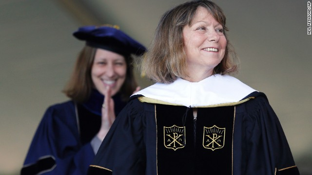 Jill Abramson, former executive editor of The New York Times, received an honorary doctorate during the commencement ceremony at Wake Forest University in Winston-Salem, North Carolina, on May 19. It was <a href='http://money.cnn.com/2014/05/19/news/companies/abramson-speech/'>Abramson's first public appearance</a> since her dismissal from The New York Times.