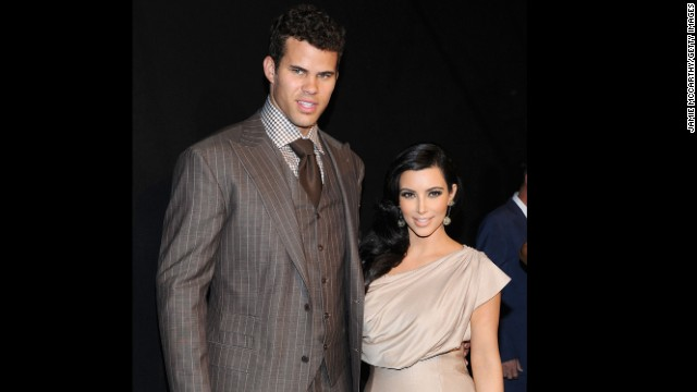 Kris Humphries. He's a professional basketball player -- who played for the Boston Celtics in the 2013-2014 season -- but he's better known as the man Kim Kardashian was married to for 72 days. The couple dated for six months before Humphries proposed with a 20.5 carat ring in May 2011. Within two months of tying the knot in front of several celebrities and E!'s TV cameras for a four-hour wedding special, Kardashian filed for divorce.