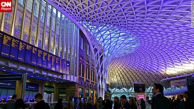 "Although London's <a href='http://www.networkrail.co.uk/london-kings-cross-station/history/' target='_blank'>King's Cross</a> railway station in opened in 1852, its new 1,700-ton steel and glass dome has given it a breathtakingly futuristic edge. Many know this station as the location of the fictional ""Platform 9 3/4"" in the Harry Potter novels, like <a href='http://ireport.cnn.com/docs/DOC-1133688'>Timothy Holm</a>, who took this photo."