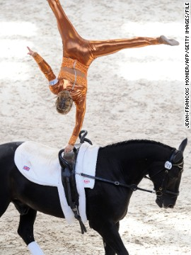 Joanne Eccles on her way to victory at the 2012 FEI World Vaulting Championship in France, competing on her family's horse W.H. Bentley.