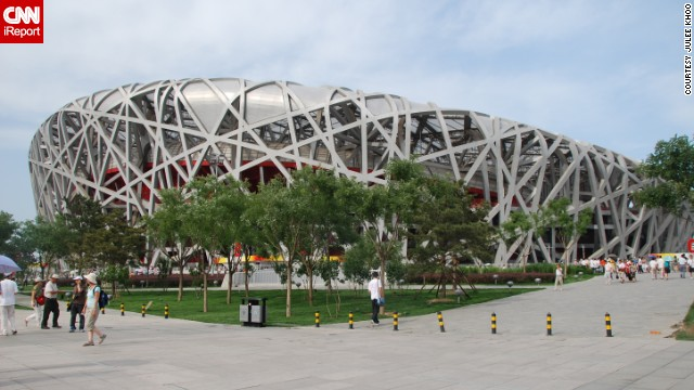 "<a href='http://ireport.cnn.com/docs/DOC-1127693'>Julee Khoo</a> looks at <a href='http://www.n-s.cn/en/' target='_blank'>Beijing's National Stadium</a>, known as the Bird's Nest, and says it's ""amazing how difficult it was for humans to recreate something that a bird does instinctively."" The stadium, created for the 2008 Summer Olympics, is largely empty these days."