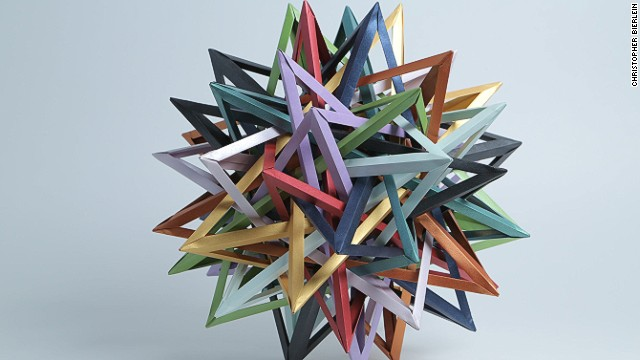 "American origamist Byriah Loper created this work of modular origami. As Nguyen explains, ""Modular origami uses multiple sheets of paper, folded into identical units, and takes these units and interlocks them, without cuts or adhesive, to obtain a final form that is usually very angular and representative of geometric solids."""