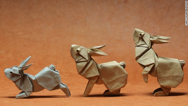 Designed by Ronald Koh and folded by Ng Boon Choon Singapore/Malaysia, these rabbits show the artists' attention to detail.