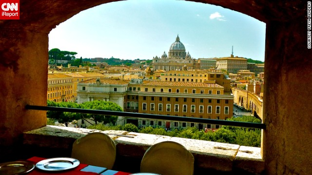 Lunch, anyone? Take in the majestic view of Rome's <a href='http://ireport.cnn.com/docs/DOC-1087434'>St. Peter's Basilica</a> through a window at this restaurant in Castel Sant'Angelo.