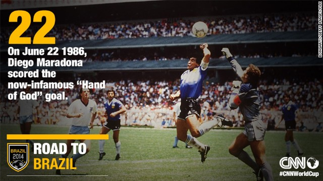 At the 1986 quarterfinals in Mexico City, Diego Maradona scored arguably the most controversial goal in football history on June 22. In the 51st minute, Argentina's captain punched the ball over goalkeeper Peter Shilton. To the dismay of the England team, Tunisian referee Ali Bennaceur allowed the goal to stand, believing Maradona had headed the ball. He then scored one of the greatest goals in World Cup history as Argentina won 2-1 and went on to lift the trophy for the second time.