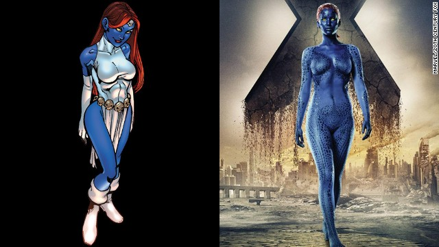 Jennifer Lawrence plays the younger Mystique, taking over the role from Rebecca Romijn in the earlier films. She's far from the only blue mutant, however.