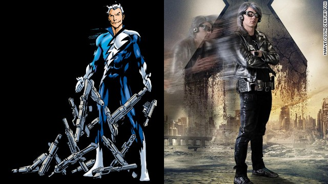 "Evan Peters portrays the lightning fast Quicksilver for the first time (a role also played by Aaron Taylor-Johnson in the upcoming ""Avengers: Age of Ultron"")."