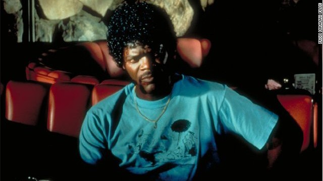 "Samuel L. Jackson as hitman Jules Winnfield in ""Pulp Fiction."" Jules and Vincent Vega (John Travolta) are out to retrieve a suitcase stolen from their employer, mob boss Marsellus Wallace."