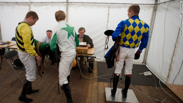 The weighing room is different to most race courses, being set up inside a temporary marquee.